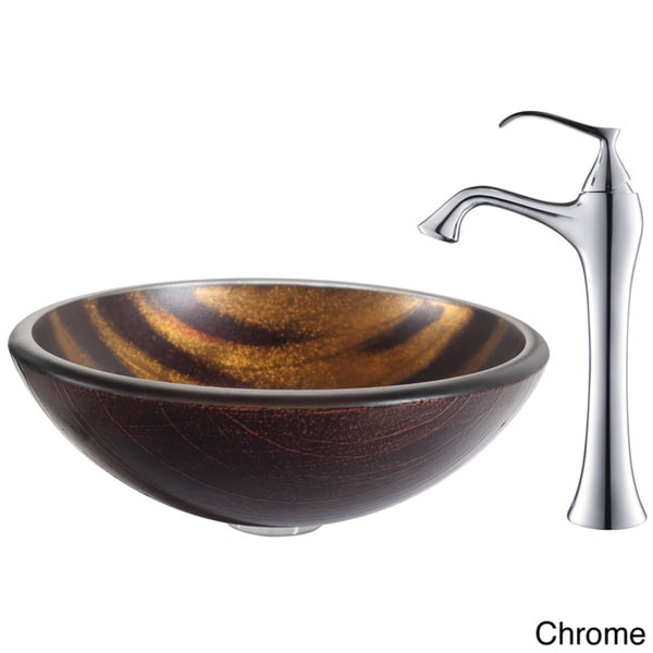 KRAUS Bastet Glass Vessel Sink in Brown with Ventus Faucet in Chrome