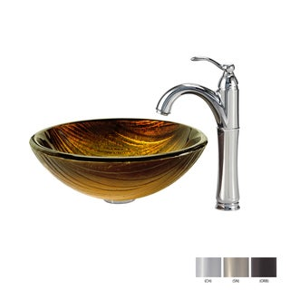 KRAUS Midas Glass Vessel Sink in Gold with Riviera Faucet in Chrome