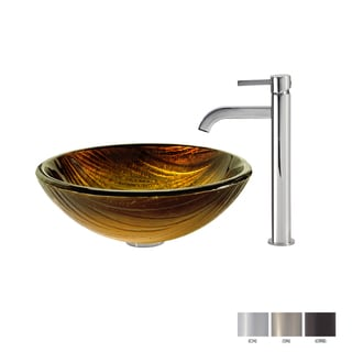 KRAUS Midas Glass Vessel Sink in Gold with Ramus Faucet in Oil Rubbed Bronze