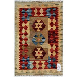 Herat Oriental Afghan Hand-woven Wool Kilim (1'11 x 2'11)