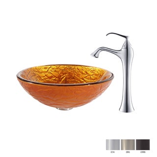 KRAUS Blaze Glass Vessel Sink in Gold with Ventus Faucet in Oil Rubbed Bronze