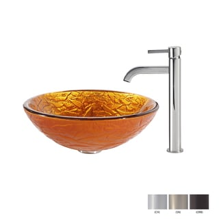 KRAUS Blaze Glass Vessel Sink in Gold with Ramus Faucet in Chrome