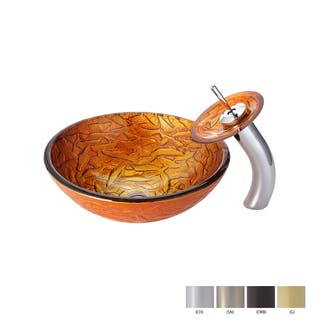 KRAUS Blaze Glass Vessel Sink in Gold with Waterfall Faucet|https://ak1.ostkcdn.com/images/products/8860115/Kraus-Blaze-Glass-Vessel-Sink-and-Waterfall-Faucet-P16087384.jpg?impolicy=medium