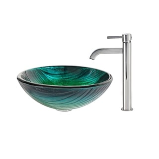 KRAUS Nei Glass Vessel Sink in Green with Ramus Faucet