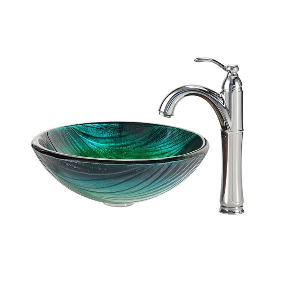 Kraus 4-in-1 Bathroom Set C-GV-391-19mm-1005 Nei Glass Vessel Sink, Riviera Faucet, Pop Up Drain, Mounting Ring