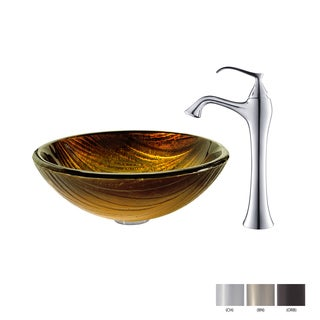 KRAUS Midas Glass Vessel Sink in Gold with Ventus Faucet in Oil Rubbed Bronze