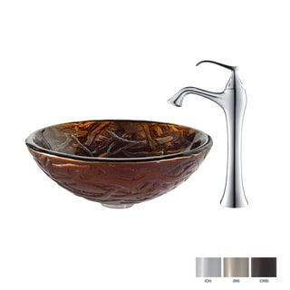 KRAUS Dryad Glass Vessel Sink in Brown with Ventus Faucet in Chrome