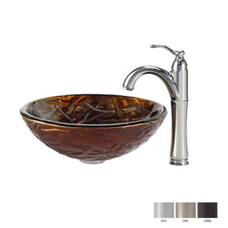 KRAUS Dryad Glass Vessel Sink in Brown with Riviera Faucet in Chrome