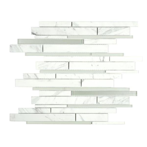 10sf Carrara White Marble Gray Glass Linear Mosaic Tile: Shop SomerTile 11.75x12.25-inch Reflections Grand Piano