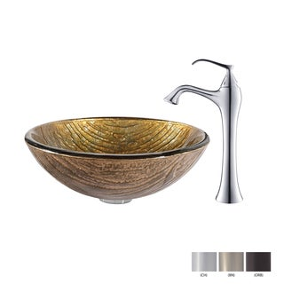 KRAUS Terra Glass Vessel Sink in Gold with Ventus Faucet in Chrome