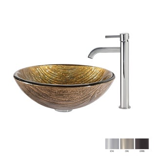 KRAUS Terra Glass Vessel Sink in Gold with Ramus Faucet in Oil Rubbed Bronze