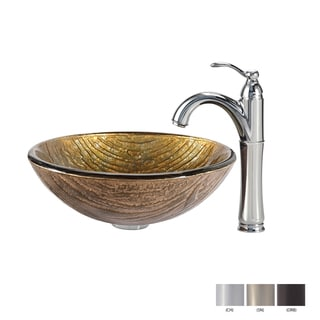 KRAUS Terra Glass Vessel Sink in Gold with Riviera Faucet in Chrome