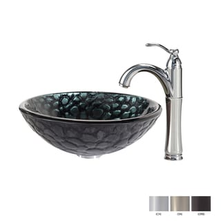 KRAUS Kratos Glass Vessel Sink in Black with Riviera Faucet in Chrome