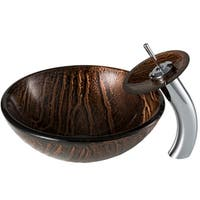 KRAUS Gaia Glass Vessel Sink in Brown with Waterfall Faucet