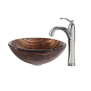 Kraus 4-in-1 Bathroom Set C-GV-398-19mm-1005 Gaia Glass Vessel Sink, Riviera Faucet, Pop Up Drain, Mounting Ring