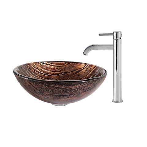Kraus 4-in-1 Bathroom Set C-GV-398-19mm-1007 Gaia Glass Vessel Sink, Ramus Faucet, Pop Up Drain, Mounting Ring