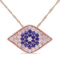Miadora Signature Collection 14k Rose Gold Sapphire and 5/8ct TDW Diamond Necklace (G-H, SI1-SI2)