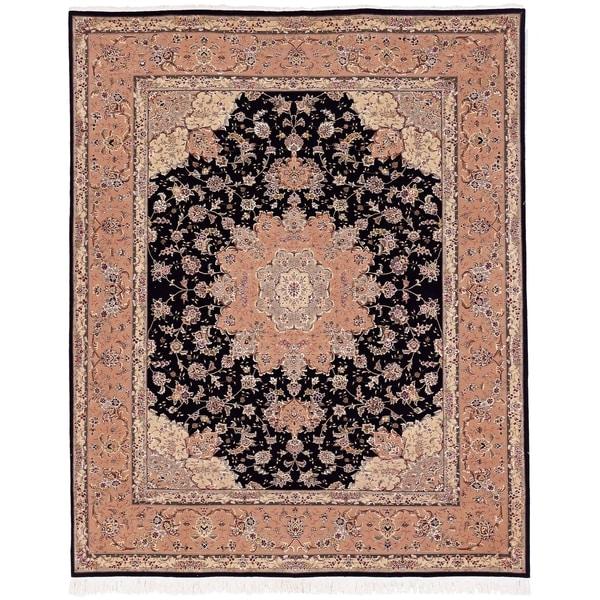 Safavieh Hand-knotted Tabriz Floral Black Wool/ Silk Rug (8' x 10')