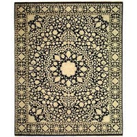 Safavieh Hand-knotted Ganges River Black/ Ivory Wool Rug (8' x 10')