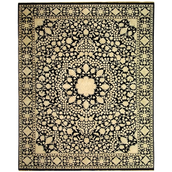 Safavieh Hand-knotted Ganges River Black/ Ivory Wool Rug - 8' x 10'