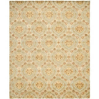 Safavieh Hand-knotted Santa Fe Ogee Teal/ Gold Wool Rug (9' x 12')