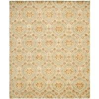 Safavieh Hand-knotted Santa Fe Ogee Teal/ Gold Wool Rug - 9' x 12'