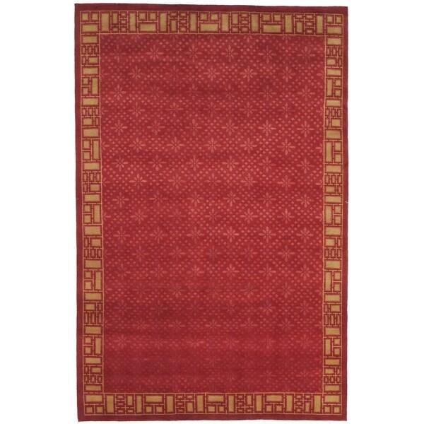 Safavieh Hand-knotted Nepalese Red/ Beige Wool/ Silk Rug - 8' x 10'