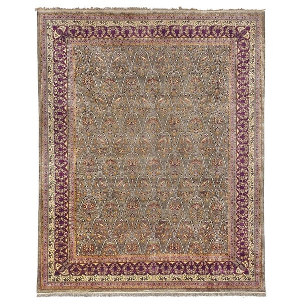 Safavieh Hand-knotted Ganges River Green/ Lavender Wool Rug - 9' x 12'