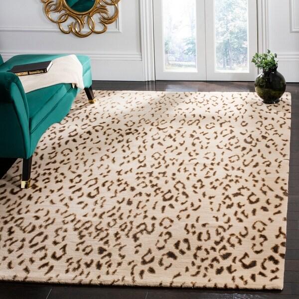 Safavieh Hand-knotted Suzanne Kasler Cream/ Deep Taupe Wool/ Silk Rug - 9' x 12'
