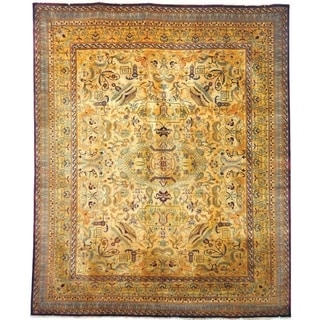 Safavieh Hand-knotted Lavar Creme/ Gold Wool Rug (6' x 9')