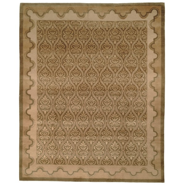 Safavieh Hand-knotted Nepalese Green/ Brown Wool/ Silk Rug - 8' x 10'