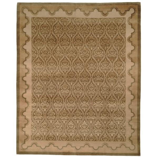 Safavieh Hand-knotted Nepalese Green/ Brown Wool/ Silk Rug - Multi Wool/Silk - 8' x 10'