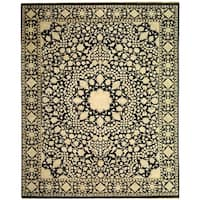 Safavieh Hand-knotted Ganges River Black/ Ivory Wool Rug - 6' x 9'