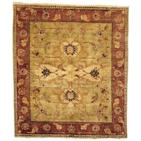 Safavieh Hand-knotted Peshawar Vegetable Dye Light Gold/ Red Wool Rug - 6' x 9'