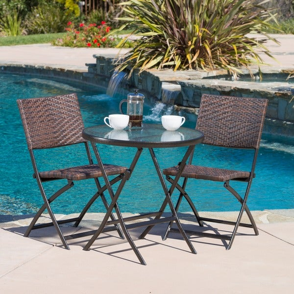 El Paso Outdoor 3 Piece Multi Brown Folding Set By Christopher Knight Home