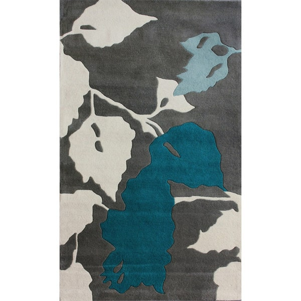 nuLOOM Handmade Leaves Grey New Zealand Wool Rug (3' x 5')