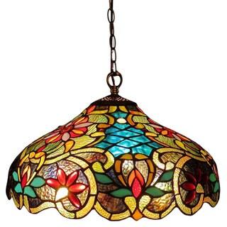 Chloe Tiffany Style Victorian Design 2-light Bronze Pendant