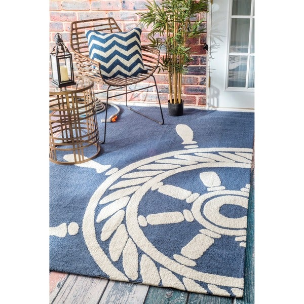 Nuloom Hand Hooked Nautical Wheel Indoor Outdoor Navy Rug