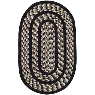 Safavieh Hand-woven Reversible Braided Ivory/ Black Rug (2'6 x 4' Oval)