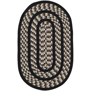 Safavieh Hand-woven Reversible Braided Ivory/ Black Rug - 2'6 x 4' oval