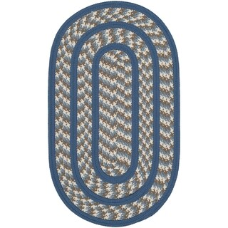 Safavieh Hand-woven Reversible Braided Ivory/ Blue Rug - 2'6 x 4' oval
