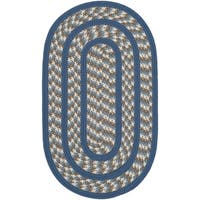 Safavieh Hand-woven Reversible Braided Ivory/ Blue Rug - 3' x 5' oval