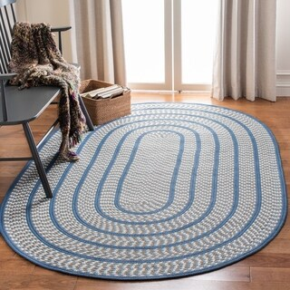Safavieh Hand-woven Reversible Braided Ivory/ Navy Rug - 2'6 x 4' oval