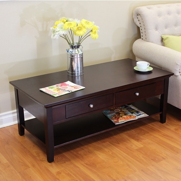 Coffee Table With Drawers Sale: Shop Ferndale Two-drawer Espresso Coffee Table