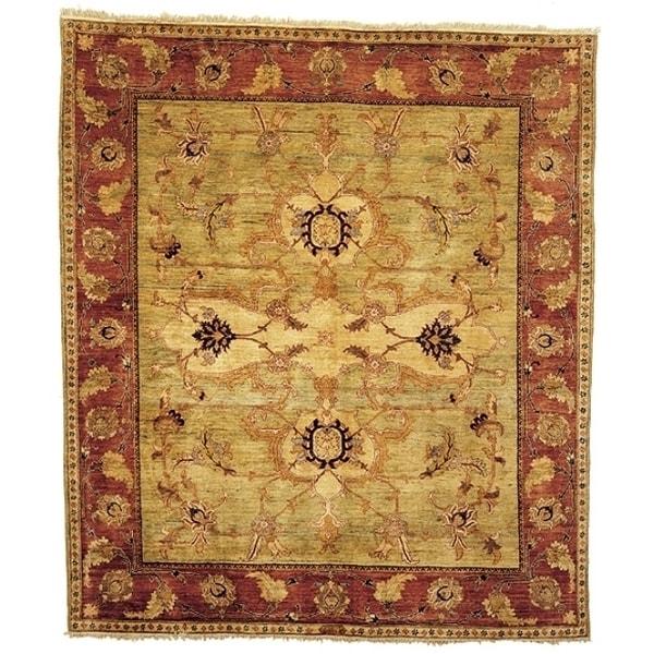 Safavieh Hand-knotted Peshawar Vegetable Dye Light Gold/ Red Wool Rug - 9' x 12'