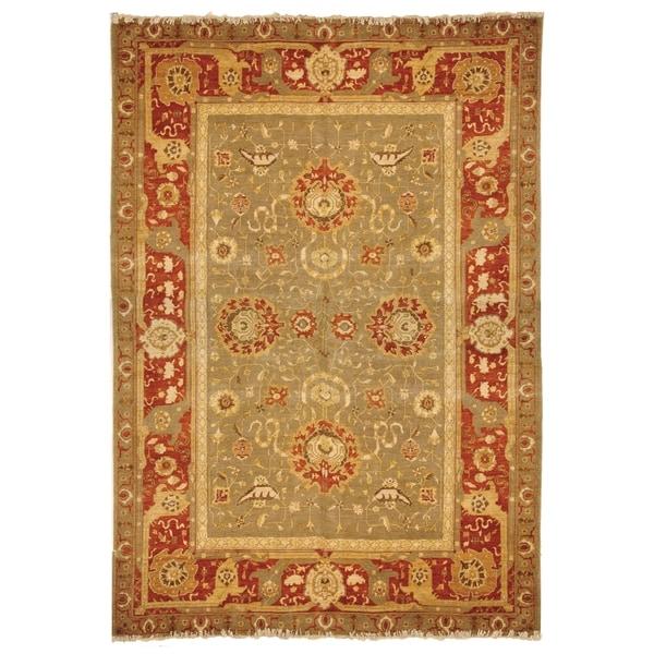 Safavieh Hand-knotted Peshawar Vegetable Dye Sage/ Burgundy Wool Rug - 9' x 12'