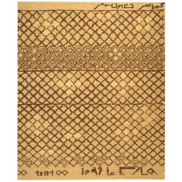 Safavieh Hand-knotted Santa Fe Moroccan Beige/ Dark Grey Wool Rug - 8' x 10'