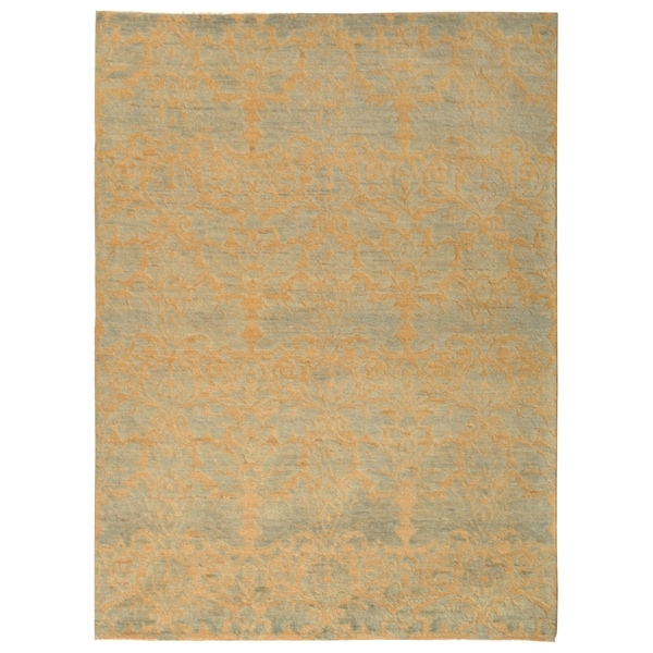 Safavieh Hand-knotted Santa Fe Contemporary Wicker/ Blue Wool Rug - 8' x 10'
