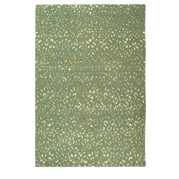 Safavieh Hand-knotted Suzanne Kasler Aqua/ Cream Wool/ Silk Rug - 8' x 10'
