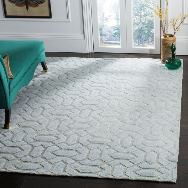Safavieh Hand-knotted Santa Fe Geometric Light Grey/ Silver Wool Rug - 8' x 10'